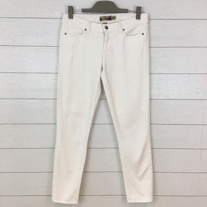 Paige Skyline Cropped Ankle Distressed Jeans White